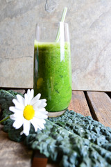 Healthy green smoothie with spinach and kale