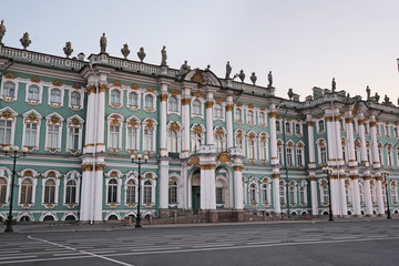 The building of Hermitage and Winter Palace in St. Petersburg, Russia