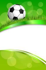 Background abstract green football soccer sport ball frame vertical ribbon illustration vector