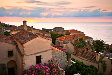 Monemvasia village in Peloponnese, Greece.