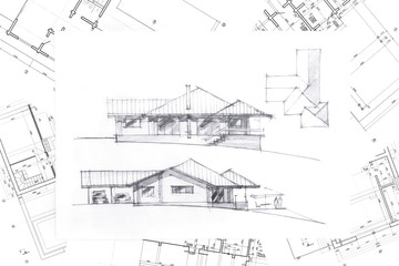 architect desk with sketch and blueprint