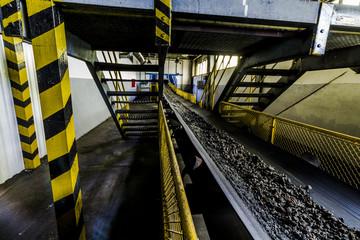 Slag on conveyor in thermal power station.