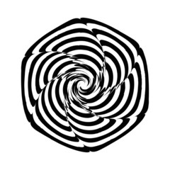 Geometric optical illusion black and white spiral flower on a