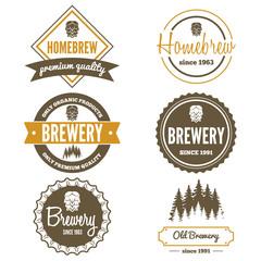 Set of vintage logo, badge, emblem or logotype elements for beer