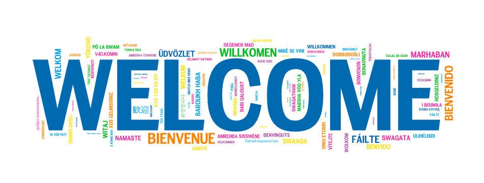 """""""WELCOME"""" Tag Cloud translated into many languages"""