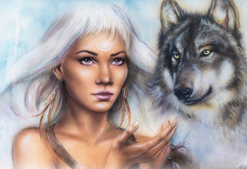 woman portrait with ornament tattoo on face with spiritual wolf