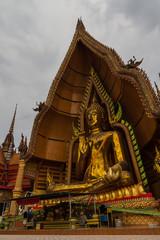 Big golden Buddha in Wat Tham Seua,Kanchanaburi