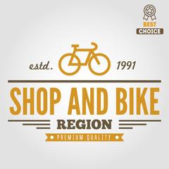 Vintage and modern bicycle shop logo badge or label