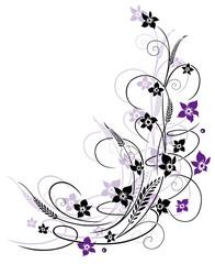 Blumen mit Gräsern, lila, violett