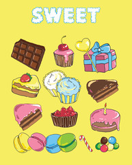 Set with bake and sweets. Background with colorful various candy