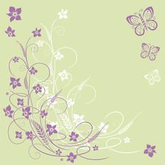 Ranke mit Gräsern, Blumen und Schmetterlingen. Grün, lila.