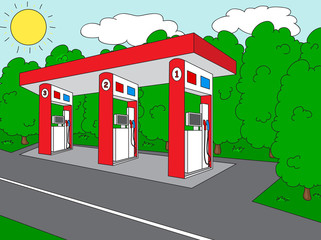 Petrol station on the roan near the forest
