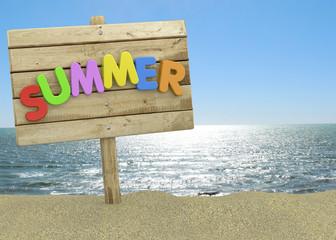 Summer Signboard on the Beach - 3D