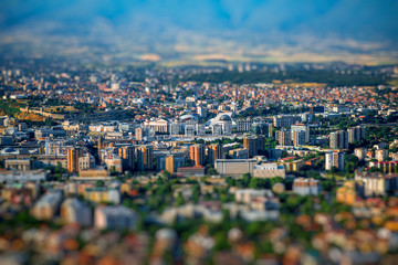 Foto op Canvas Top view on Skopje city in Macedonia