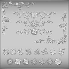Set of silver floral vintage vector design elements. Vector, EPS 10