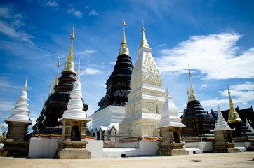 Tower Chedis in the Temple Chiangmai Thailand