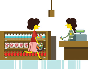 Woman shopping in supermarket, cashier and retail. vector