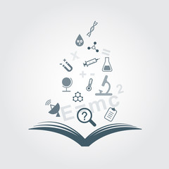 Open book science icons set vector elements.