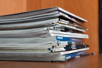 Magazine, magazines, stack.