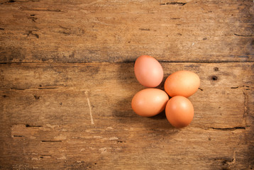 Eggs on a wooden table