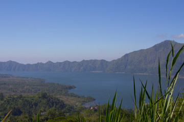 Batur volcano in the sunshine day