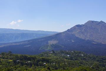 Batur volcano in the sunshine day