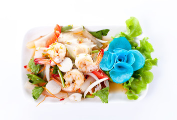 Thai spicy salad with shrimp and mix vegetable on white background