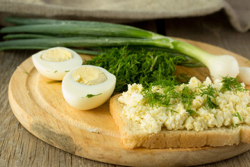 Toast with egg salad