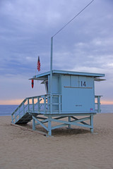 California Beach Life Guard Station at Sunset
