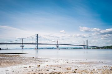 Forth Road Bridge at low tide