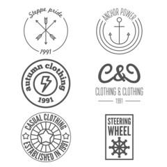 Set of logo, sticker, emblem, print, label and logotype elements