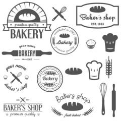 Fotobehang Vintage Poster Set of vintage bakery logos, labels, badges and design elements