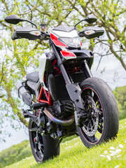 A supermotard type motorcycle in field in early summer (whole)