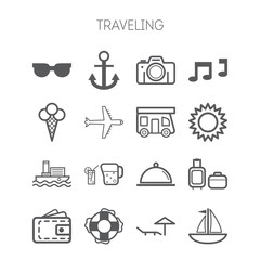 Set of simple icons for traveling