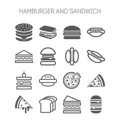 Set of simple icons with hamburgers, sandwiches and pizza for