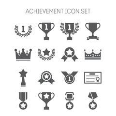Set of simple achievement icons for web design, sites