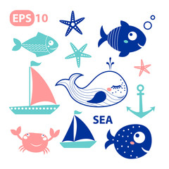 Sea vector elements, fishes - set of vector icons. Isolated on white background