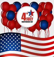 Happy independence day card United States of America. 4 th of Ju
