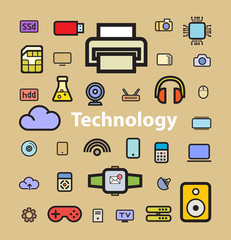 Technology icons, vector illustrations