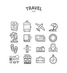 Travel and Tourism icons set. Vector illustrations.