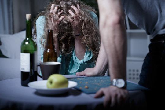 Drunk aggressive husband