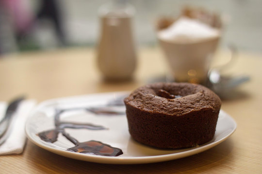 souffle with served coffee
