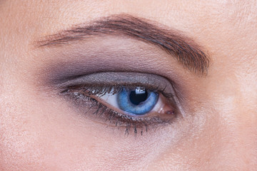Close up of a blue woman eye