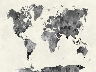 Obraz Mapa świata w kolorach szarości - fototapety do salonu