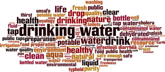 Drinking water word cloud concept. Vector illustration