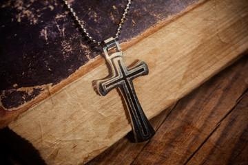Closeup of silver Christian cross