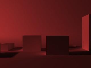 Кубики с красным светом