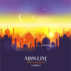 Muslim abstract greeting card. Islamic vector illustration at su