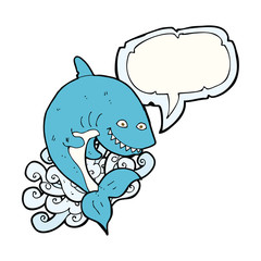 cartoon shark with speech bubble