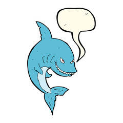 funny cartoon shark with speech bubble